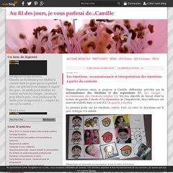 Les émotions : reconnaissance et interprétation des émotions à partir du contexte - Au fil des jours, je vous parlerai de...Camille