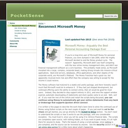 Reconnect Microsoft Money - PocketSense