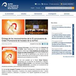 Entrega de los reconocimientos de la IX convocatoria de Orden Promocional de titulados de la ULPGC