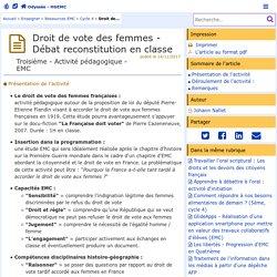 Droit de vote des femmes - Débat reconstitution en classe- Odyssée: Histoire Géographie Éducation civique