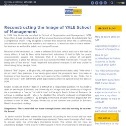 Reconstructing the Image of YALE School of Management