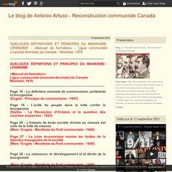 theorie marxiste-leniniste - Le blog de Antonio Artuso - Reconstruction communiste Canada