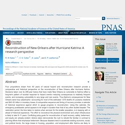 Reconstruction of New Orleans after Hurricane Katrina: A research perspective