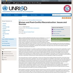 Women and Post-Conflict Reconstruction: Issues and Sources