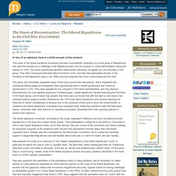 <i>The Doom of Reconstruction: The Liberal Republicans in the Civil War Era</i>