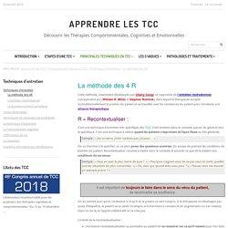 Technique d'entretien en TCC, les 4 R : recontextualiser, reformuler, résumer, renforcer