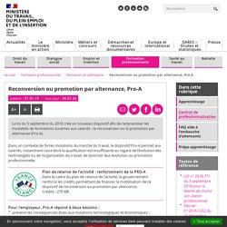 Pro A - reconversion ou promotion par l'alternance