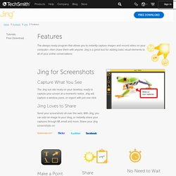 Jing, instant screenshots and screencasts, free tour page