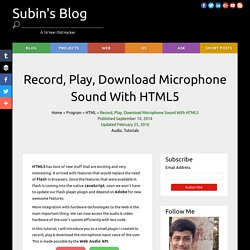Record, Play, Download Microphone Sound With HTML5 - Subin's Blog