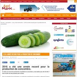 AGRIMAROC 24/01/18 2016 a été une année record pour la production de concombre.