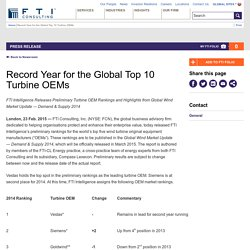 Record Year for the Global Top 10 Turbine OEMs
