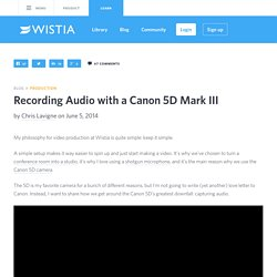 Recording Audio with a Canon 5D Mark III - Video Toolkit