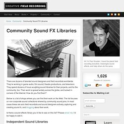 Community Sound FX Libraries