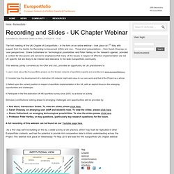 Recording and Slides - UK Chapter Webinar
