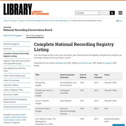 Complete National Recording Registry Listing