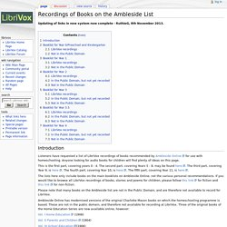 Recordings of Books on the Ambleside List