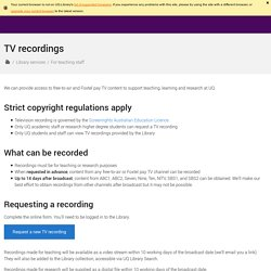 TV recordings - Library - The University of Queensland, Australia