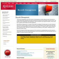 Records Management: Records Management Program Definitions (Special Collections and University Archives)