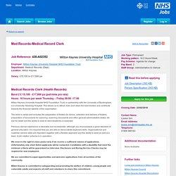 Med Records-Medical Record Clerk