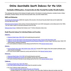Searchable Death Indexes & Databases