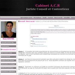 ACR Recouvrement - frais de recouvrement - Article L111-8 du code de procédure civile