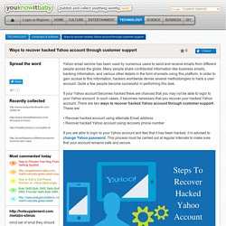 Ways to recover hacked Yahoo account through customer support