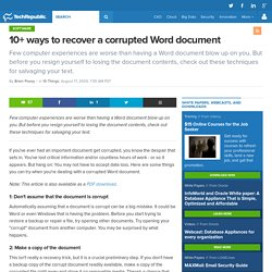 10+ ways to recover a corrupted Word document