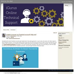 iGurus Inc.Net - Unable to recover my Facebook account Help me