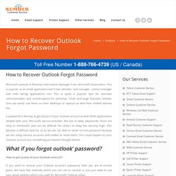 How to Recover Outlook Email Account Forgot Password