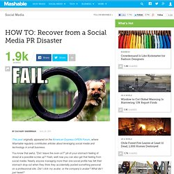 HOW TO: Recover from a Social Media PR Disaster