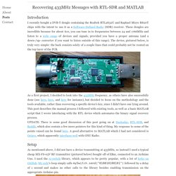 Recovering 433MHz Messages with RTL-SDR and MATLAB