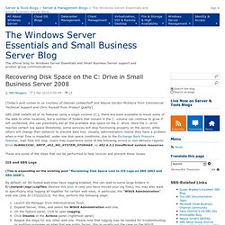 Recovering Disk Space on the C: Drive in Small Business Server 2008 - The Windows Server Essentials and Small Business Server Blog
