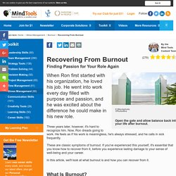 Recovering From Burnout - Stress Management From MindTools.com