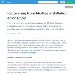 Recovering from McAfee installation error 12152