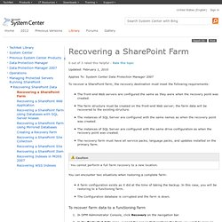 Recovering a SharePoint Farm
