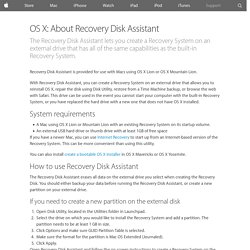 OS X: About Recovery Disk Assistant - Apple Support