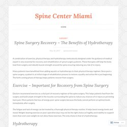 Spine Surgery Recovery – The Benefits of Hydrotherapy