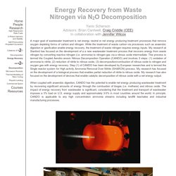Energy Recovery from Waste Nitrogen via N2O Decomposition