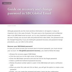Guide on recovery and change password in SBCGlobal Email