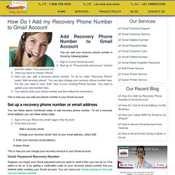 How Do I Add my Recovery Phone Number to Gmail Account