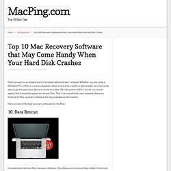 Top 10 Mac Recovery Software that May Come Handy When Your Hard Disk Crashes – MacPing.com