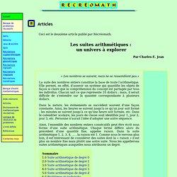 Article Récréomath Suites arithmétiques