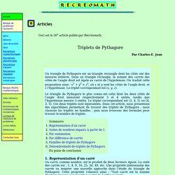 Article Récréomath Triplets de Pythagore