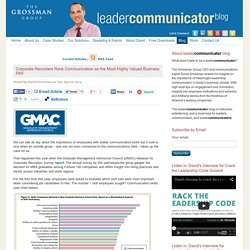Corporate Recruiters Rank Communication as the Most Highly Valued Business Skill