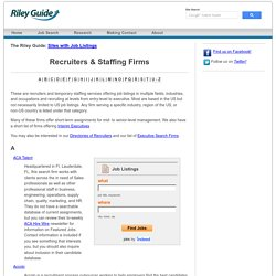 Recruiters and Staffing Firms: The Riley Guide
