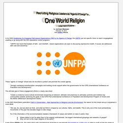 """Recruiting Religious Leaders as """"Agents of Change"""" for One World Religion - United Nations Guidelines"""