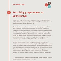 Recruiting programmers to your startup