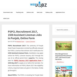 PSPCL Recruitment 2017, 1500 Assistant Lineman, Online Application Form