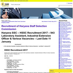 Recruitment of Haryana Staff Selection Commission- Rozgar darpan
