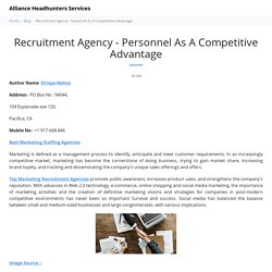 Recruitment Agency - Personnel As A Competitive Advantage - Alliance Headhunters Services